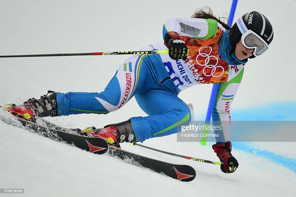 Uzbekistan's Kseniya Grigoreva competes during the Women's Alpine Skiing Giant Slalom Run 1 at the Rosa Khutor Alpine Center during the Sochi Winter Olympics on February 18, 2014.