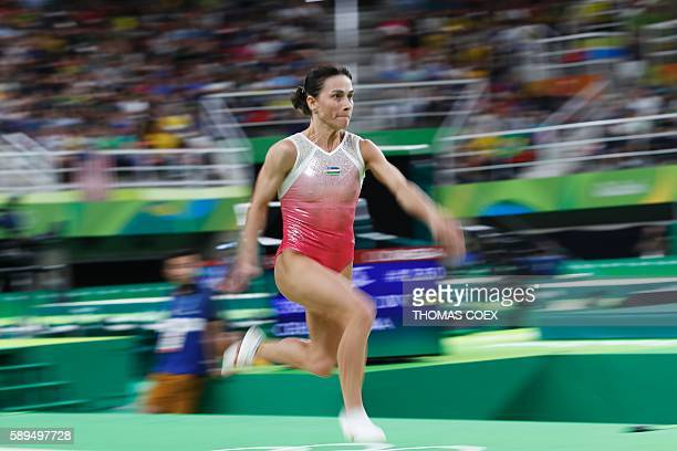 TOPSHOT Uzbekistan's Oksana Chusovitina competes in the women's vault event final of the Artistic Gymnastics at the Olympic Arena during the Rio 2016...