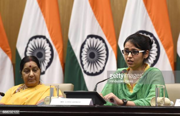 Uzma Ahmed addressing a press conference with Union External Affairs Minister Sushma Swaraj at Jawahar Bhawan after returning from Pakistan on May 25...