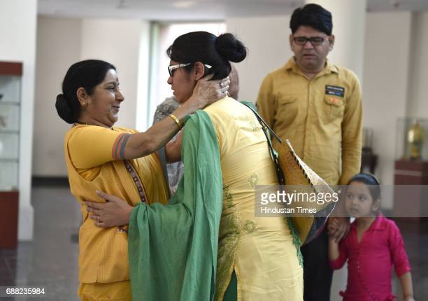 Uzma Ahmed hugs Union External Affairs Minister Sushma Swaraj at Jawahar Bhawan after returning from Pakistan on May 25 2017 in New Delhi India Uzma...