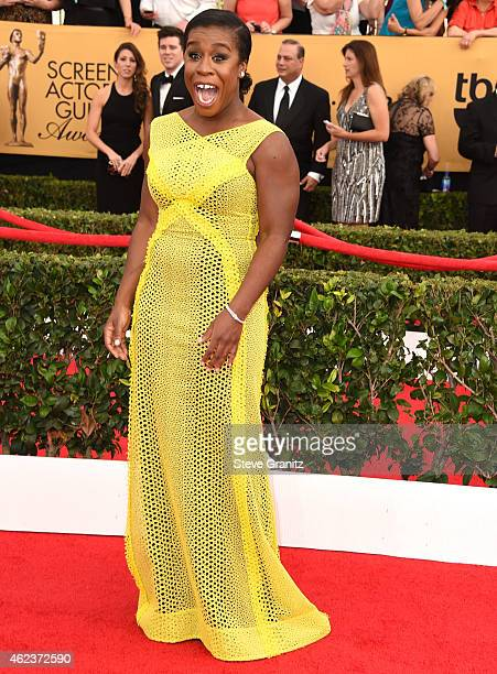 Uzo Aduba arrives at the 21st Annual Screen Actors Guild Awards at The Shrine Auditorium on January 25 2015 in Los Angeles California
