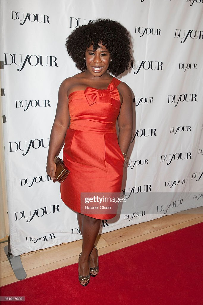 <a gi-track='captionPersonalityLinkClicked' href=/galleries/search?phrase=Uzo+Aduba&family=editorial&specificpeople=7042411 ng-click='$event.stopPropagation()'>Uzo Aduba</a> arrives for DuJour Magazine's Jason Binn with editors Nicole Vecchiarelli & Keith Pollock as they celebrate The Great Performances issue featuring '12 Years A Slave' Golden Globe Nominee Lupita Nyong'o at Herringbone, Mondrian LA on January 11, 2014 in Beverly Hills, California.