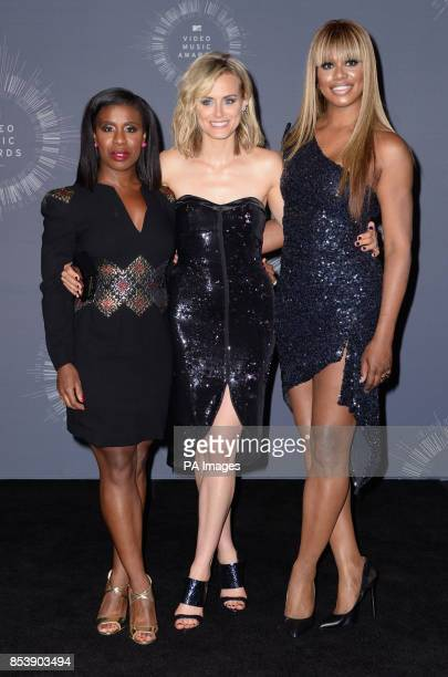 Uzo Aduba Taylor Schilling and Laverne Cox backstage in the MTV Video Music Awards 2014 Press Room at the MTV Video Music Awards 2014 at The Forum in...
