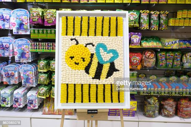 Uzo Aduba's artwork on display as Dylan Lauren celebrates the Sweet 16 of Dylan's Candy Bar on October 17 2017 in New York City