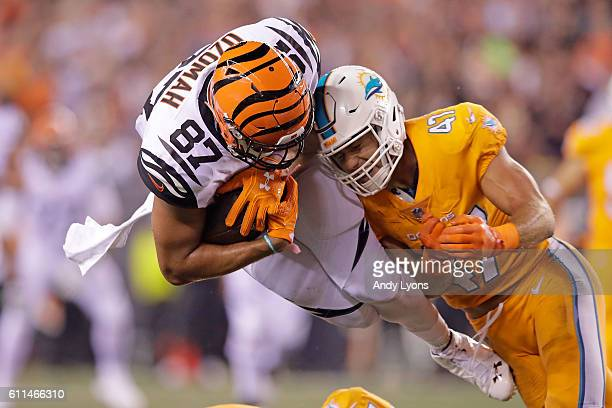 J Uzomah of the Cincinnati Bengals is tackled by Kiko Alonso of the Miami Dolphins during the second quarter at Paul Brown Stadium on September 29...