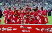 LFC v Bolton Wanderers in the Coca Cola Cup Final at Wembley game won 21 The Liverpool FC team celebrate winning the cocacola cup on April 2 1995
