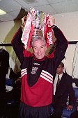 LFC v Bolton Wanderers in the Coca Cola cup final at Wembley won by the Reds 31 Liverpool manager Roy Evans celebrates in the Wembley dressing room...