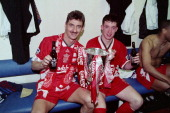 LFC v Bolton Wanderers in the COcacola cup final at Wembley won 21 Ian Rush and Robbie Fowler celebrate in the dressing room after the game on April...
