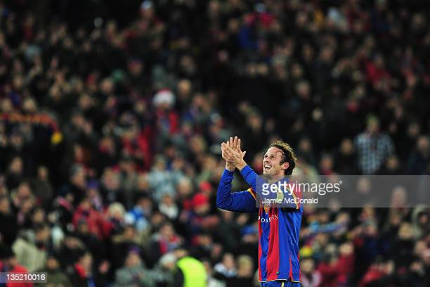 v celebrates victory after the UEFA Champions League Group C match between FC Basel 1893 and Manchester United at St JakobPark on December 7 2011 in...