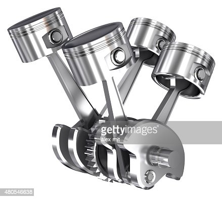 v4 pistons and cog isolated on white : Stock Photo
