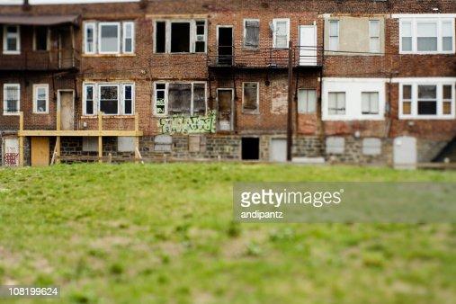 Vacant and run down row homes in a Philadelphia neighborhood