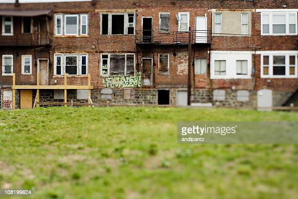 Vacant and run down row homes in a Philadelphia neighborhood
