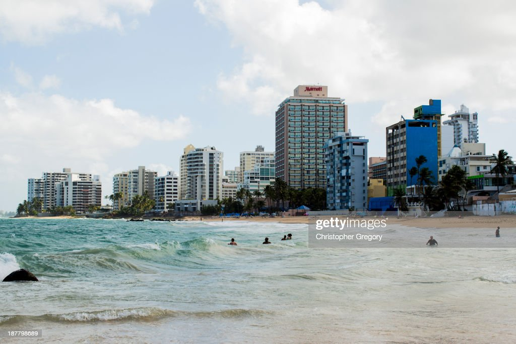 Vacant buildings dot the coast in the upscale Condado neighborhood on November 12 2013 in San Juan Puerto Rico The island territory of the United...