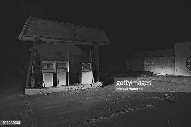 A vacant gas station on Route 66 in Oro Grande California