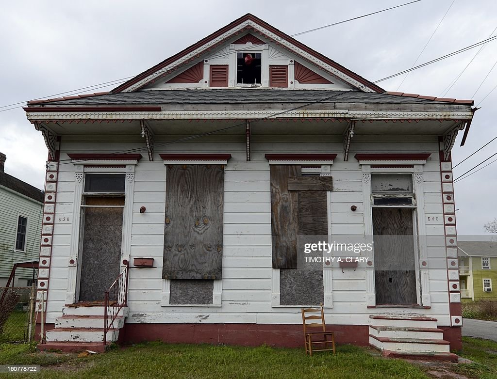 A vacant home is seen in the Lower Ninth Ward of New Orleans February 5, 2013. The Ninth Ward suffered the worst damage from Hurricane Katrina that occured in 2005 after multiple breaches in the levees of at least four canals. As of March 2009, hundreds of houses have been rebuilt, and dozens of new homes have been constructed. AFP PHOTO / TIMOTHY A. CLARY