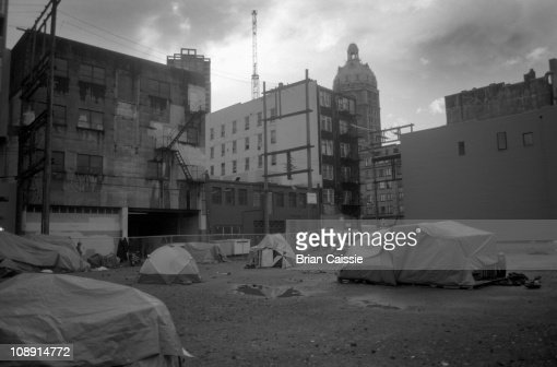 A vacant lot where the homeless have set up makeshift houses, Vancouver, BC, Canada