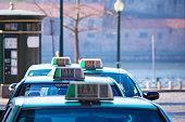 Vacant taxi parking, Porto, Portugal. Horizontal shot