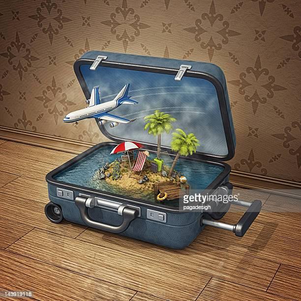 スーツケースの島でのバケーション