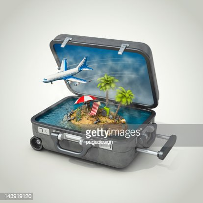 vacation island in suitcase : Stock Photo