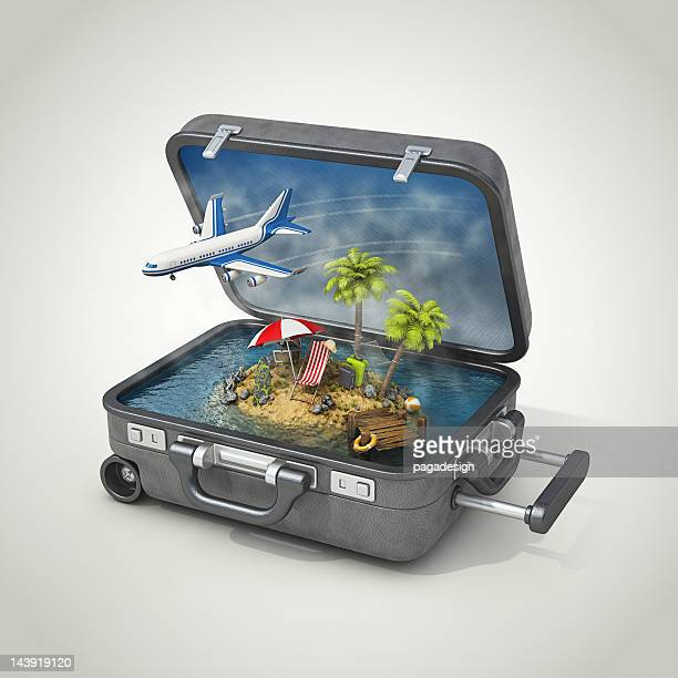 vacation island in suitcase