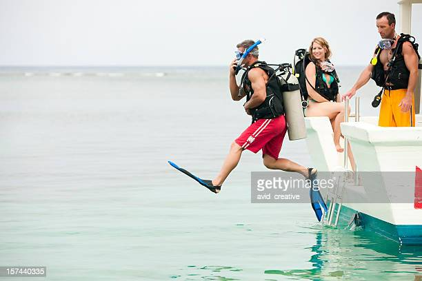 Vacation Lifestyles-Scuba Diver Jumping Off Boat