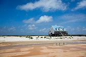 Stilt house on a beach