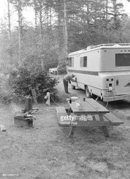 Vacationers from Colorado park their motor home in one of Oregon's 222 state parks and wayside areas This site was at Fort Stevens near Astoria...