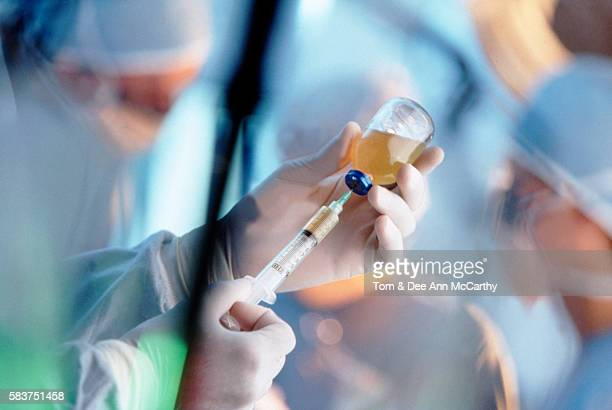 Vaccine with hypodermic needle