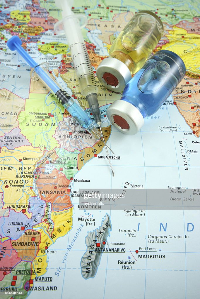 Vaccines and Africa map : Stock Photo