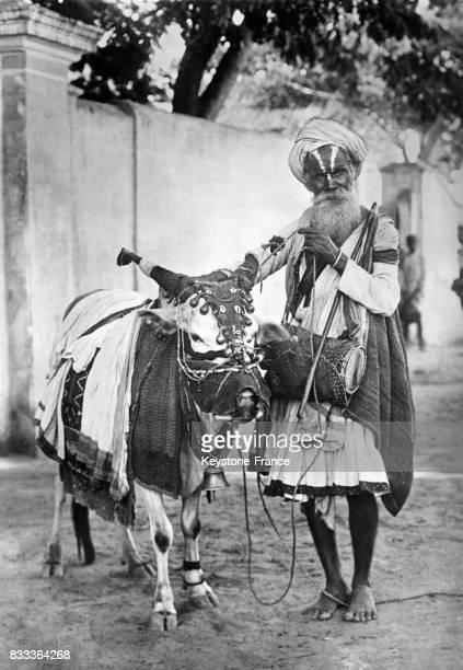 Vache sacrée et Hindou dans les rues de Madras Inde en 1934