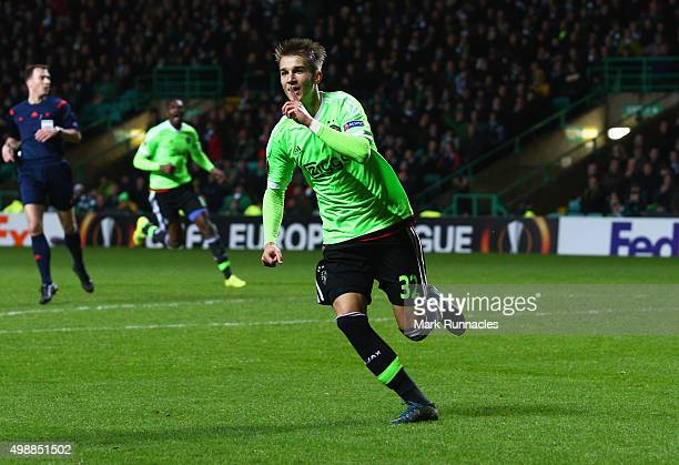 Vaclav Cerny of Ajax celebrates as he scores their second goal during the UEFA Europa League Group A match between Celtic FC and AFC Ajax at Celtic...
