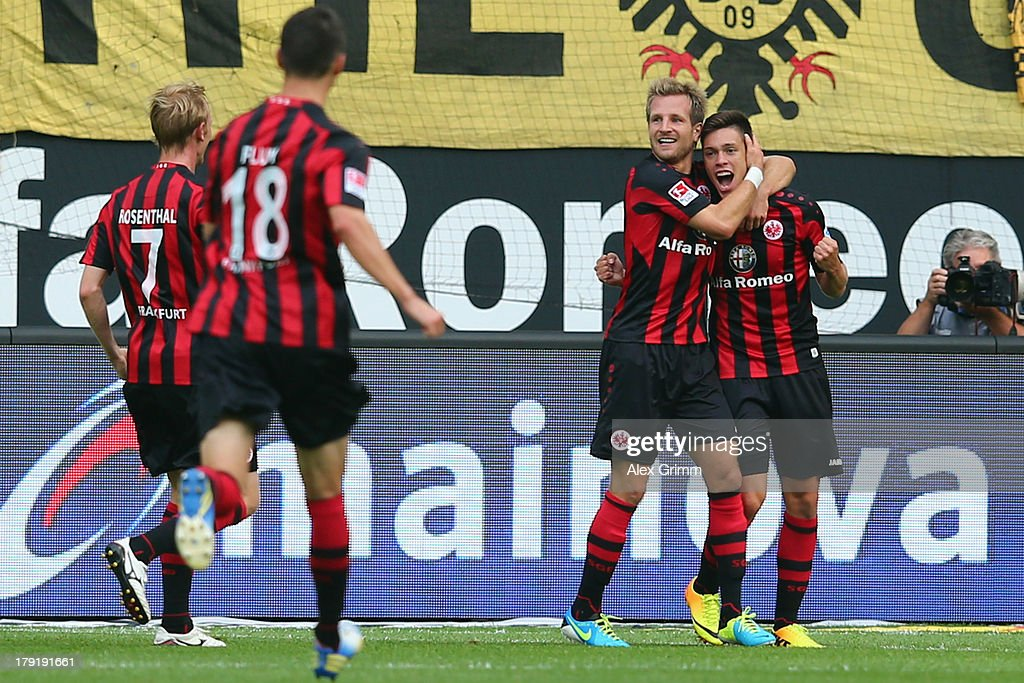 <a gi-track='captionPersonalityLinkClicked' href=/galleries/search?phrase=Vaclav+Kadlec&family=editorial&specificpeople=6388836 ng-click='$event.stopPropagation()'>Vaclav Kadlec</a> of Frankfurt celebrates his team's first goal with team mates <a gi-track='captionPersonalityLinkClicked' href=/galleries/search?phrase=Stefan+Aigner&family=editorial&specificpeople=764034 ng-click='$event.stopPropagation()'>Stefan Aigner</a>, <a gi-track='captionPersonalityLinkClicked' href=/galleries/search?phrase=Johannes+Flum&family=editorial&specificpeople=665021 ng-click='$event.stopPropagation()'>Johannes Flum</a> and <a gi-track='captionPersonalityLinkClicked' href=/galleries/search?phrase=Jan+Rosenthal&family=editorial&specificpeople=758564 ng-click='$event.stopPropagation()'>Jan Rosenthal</a> (R-L) during the Bundesliga match between Eintracht Frankfurt and Borussia Dortmund at Commerzbank Arena on September 1, 2013 in Frankfurt am Main, Germany.