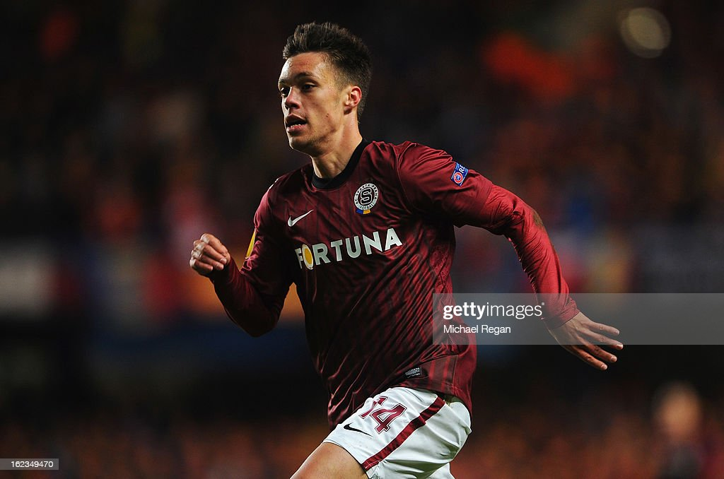 Vaclav Kadlec of Sparta Praha in action during the UEFA Europa League Round of 32 second leg match between Chelsea and Sparta Praha at Stamford Bridge on February 21, 2013 in London, England.