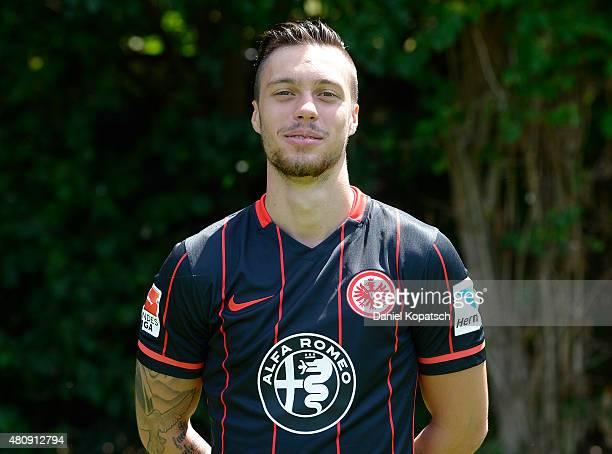 Vaclav Kadlec poses during the Eintracht Frankfurt team presentation on July 15 2015 in Frankfurt am Main Germany