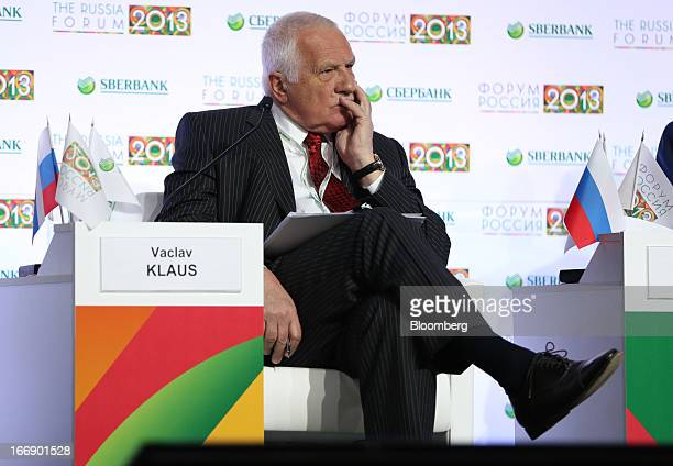 Vaclav Klaus former president of Czech Republic pauses during a session on the opening day of the Russia Forum organised by Sberbank in Moscow Russia...