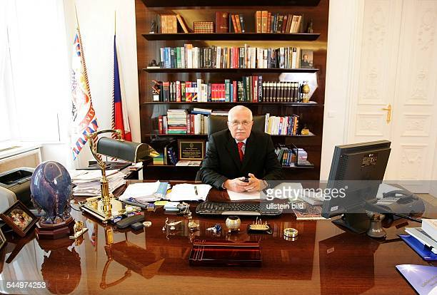 Vaclav Klaus Politician Czech Republic President at his office in Prague