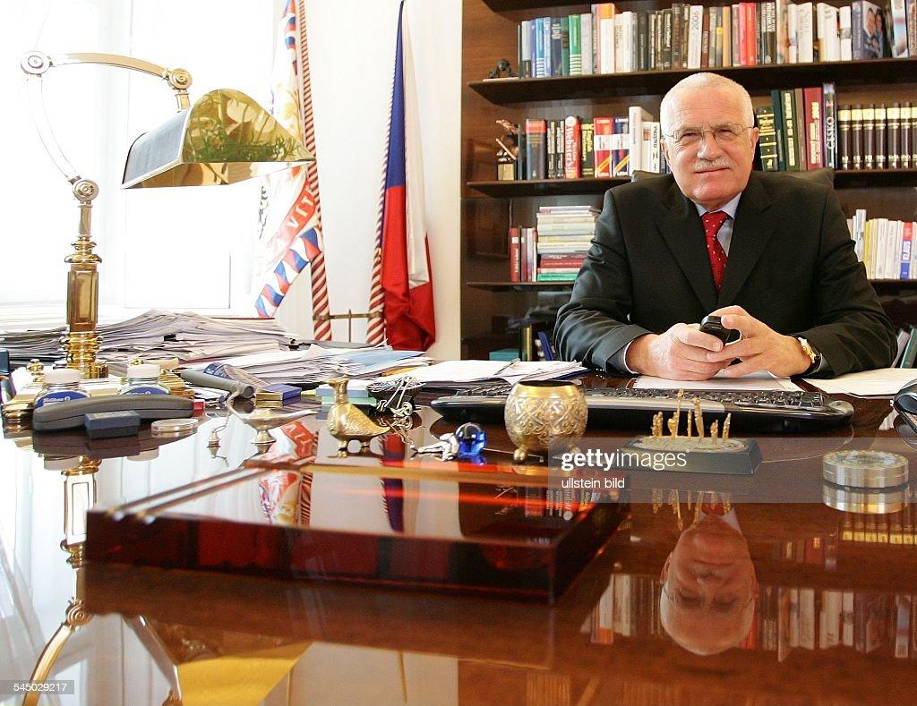 Vaclav Klaus Politician Czech Republic President at his office in Prague