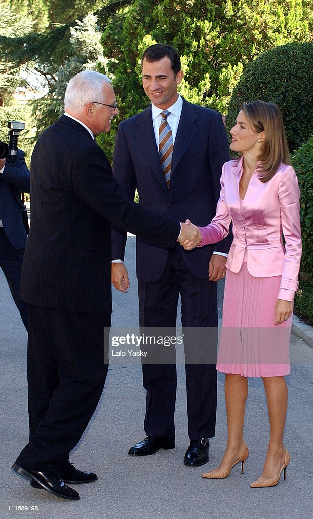 <a gi-track='captionPersonalityLinkClicked' href=/galleries/search?phrase=Vaclav+Klaus&family=editorial&specificpeople=241250 ng-click='$event.stopPropagation()'>Vaclav Klaus</a>, Prince Felipe and Letizia Ortiz during Czech President <a gi-track='captionPersonalityLinkClicked' href=/galleries/search?phrase=Vaclav+Klaus&family=editorial&specificpeople=241250 ng-click='$event.stopPropagation()'>Vaclav Klaus</a> and Wife Livia Klausova Commence 2 Day Official Visit to Madrid at Zarzuela Palace in Madrid, Spain.