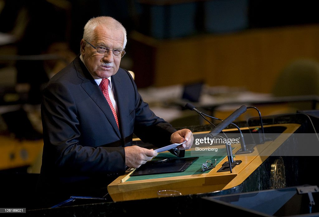 <a gi-track='captionPersonalityLinkClicked' href=/galleries/search?phrase=Vaclav+Klaus&family=editorial&specificpeople=241250 ng-click='$event.stopPropagation()'>Vaclav Klaus</a>, the Czech Republic's president, speaks during the 66th annual United Nations General Assembly at the UN in New York, U.S., on Friday, Sept. 23, 2011. The General Debate theme is 'The role of mediation in the settlement of disputes by peaceful means.' Photographer: Scott Eells/Bloomberg via Getty Images