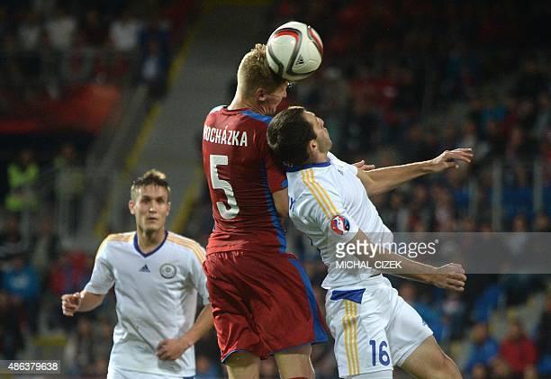 Vaclav Prochazka of Czech Republic vies for a ball with Gafurzhan Suyumbayev of Kazakhstan during the UEFA Euro 2016 qualifying round football match...