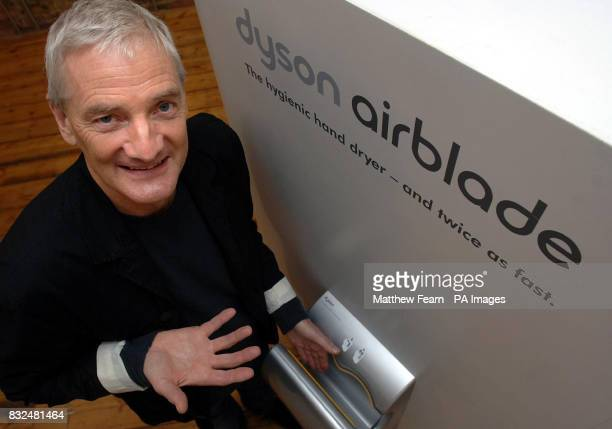 Vacuum cleaner king James Dyson with his new invention the Airblade a highspeed hand dryer for public toilets during an unveiling in London