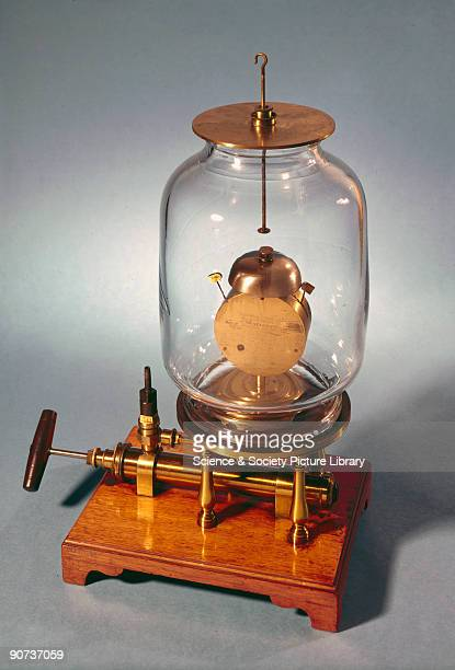 Vacuum demonstration equipment built for King George III by his instrument maker George Adams in 1761 The clockwork bell rings inside a bell jar from...