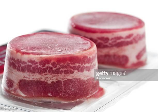Vacuum packed frozen beef fillets