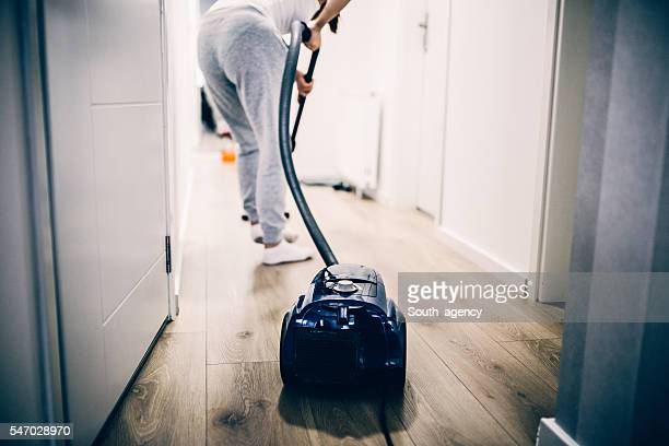 Vacuuming the house