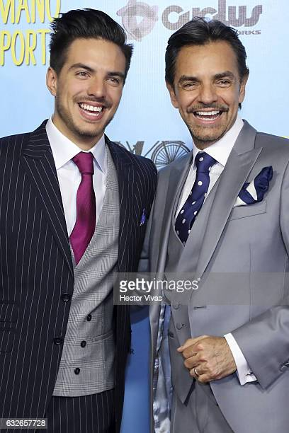 Vadhir Derbez and Eugenio Derbez smile during the red carpet of the Mexican movie 'El Tama–ño Si Importa' at Cinepolis Oasis Square on January 24...