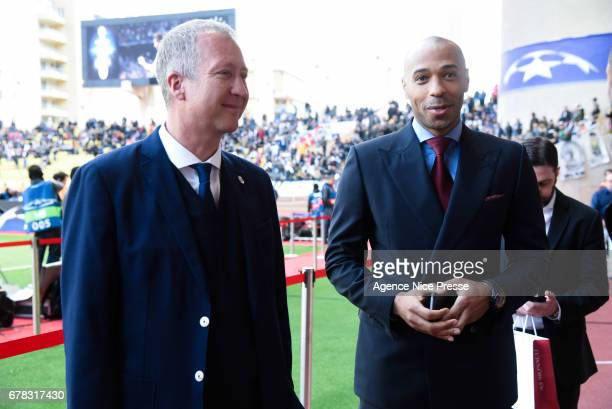 Vadim Vasilyev president of Monaco and Thierry Henry former player during the Uefa Champions League match semi final first leg between As Monaco and...