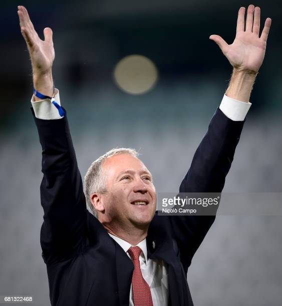 Vadim Vasilyev vice president of AS Monaco greets the supporters at the end of the UEFA Champions League Semi Final second leg football match between...
