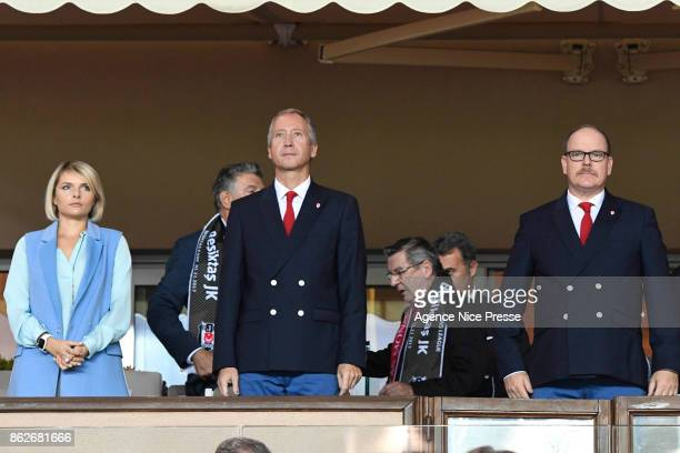 Vadim Vasilyev vice president of Monaco and Prince Albert of Monaco during the UEFA Champions League match between AS Monaco and Besiktas Istanbul at...