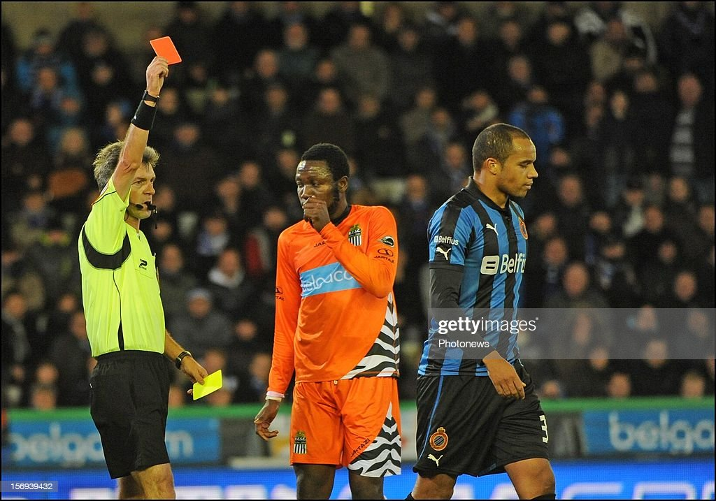 Vadis Odjidja Ofoe of Club Brugge KV sent off by referee Peter Vervecken after red card pictured during the Jupiler League match between Club Brugge K.V and R.C.S.Charleroi November 25, 2012 in Brugge, Belgium.