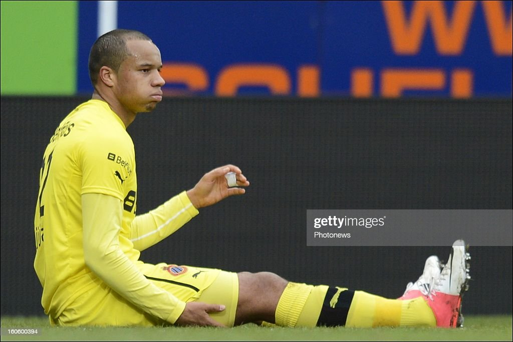 Vadis Odjidja Ofoe of Club Brugge KV shows dejection during the Jupiler League match between KRC Genk and Club Brugge KV on February 3, 2013 in Genk, Belgium.